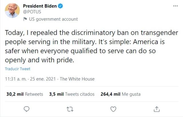 Biden personas transgénero ejército Estados Unidos