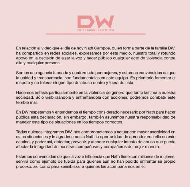 Comunicado DW Nath Campos