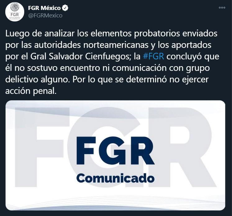 FGR exonera Salvador Cienfuegos