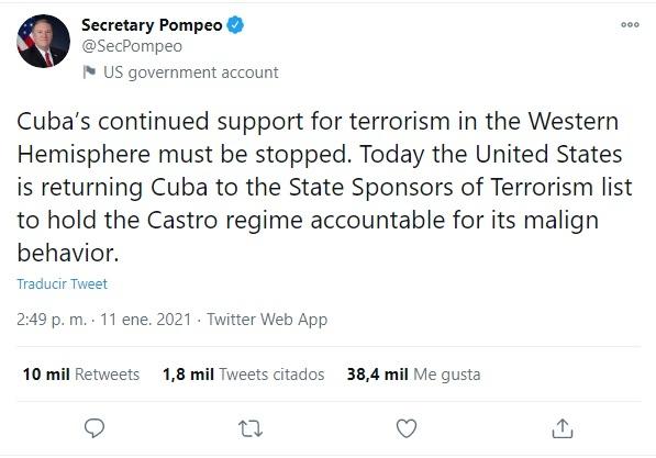 Mike Pompeo Secretario de Estado EE.UU