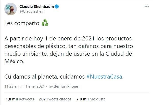 Sheinbaum Ley de Residuos Sólidos CDMX plásticos de un solo uso prohibidos 2021