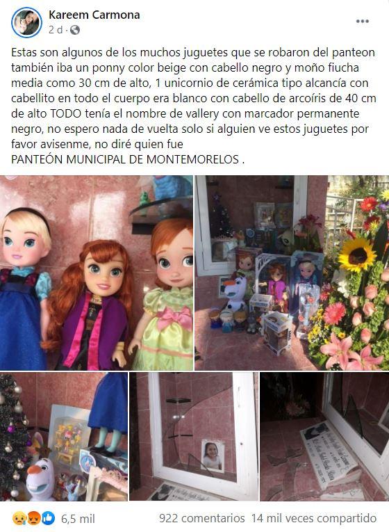 Roban juguetes de la tumba de una niña en Nuevo León