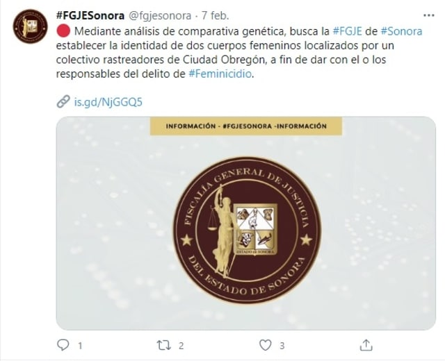 Fiscalía Sonora familiares Güero Palma fosa clandestina