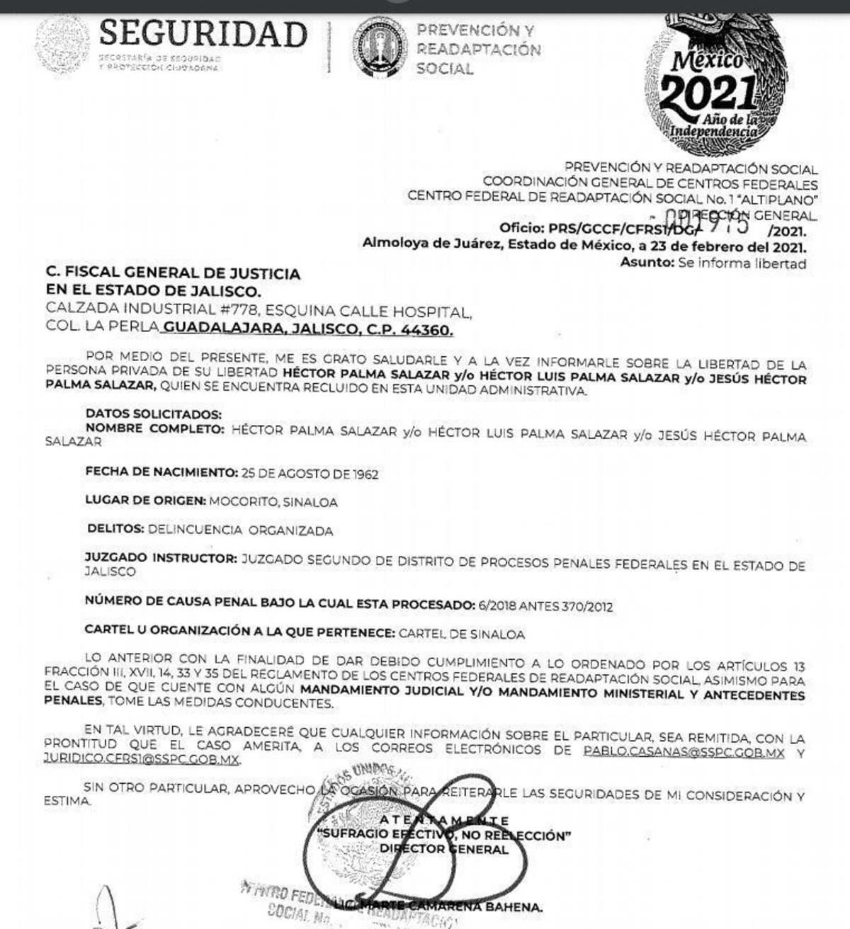 Oficio supuesta liberación El Güero Palma