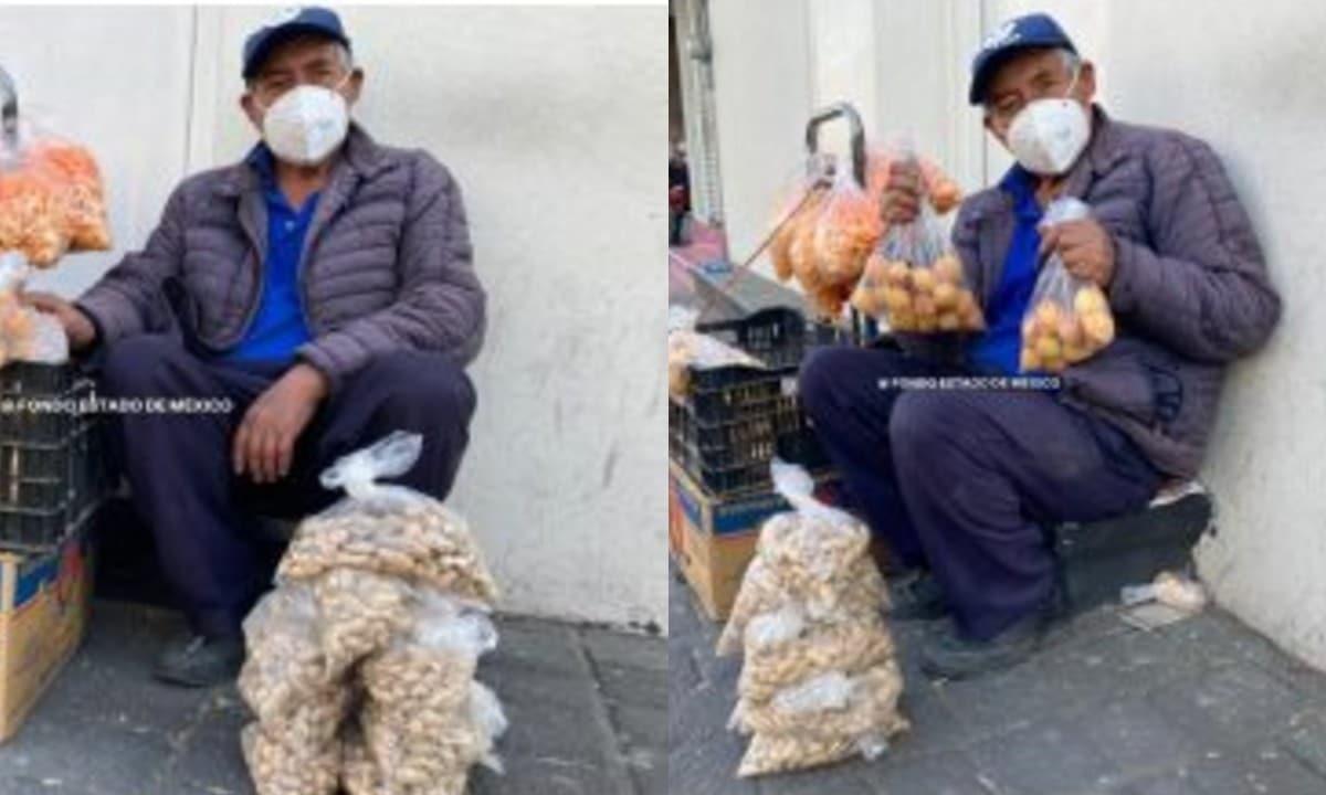 En pandemia por Covid, abuelito sale a la calle a vender chicharrones para pagar gastos del cáncer de su esposa