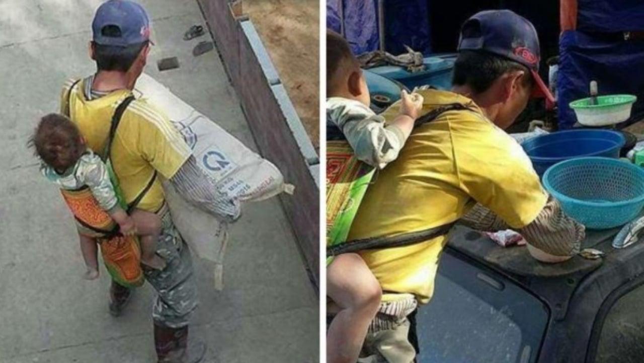 Se viraliza albañil que carga a hijo mientras trabaja; señalan que no hay quién le ayude