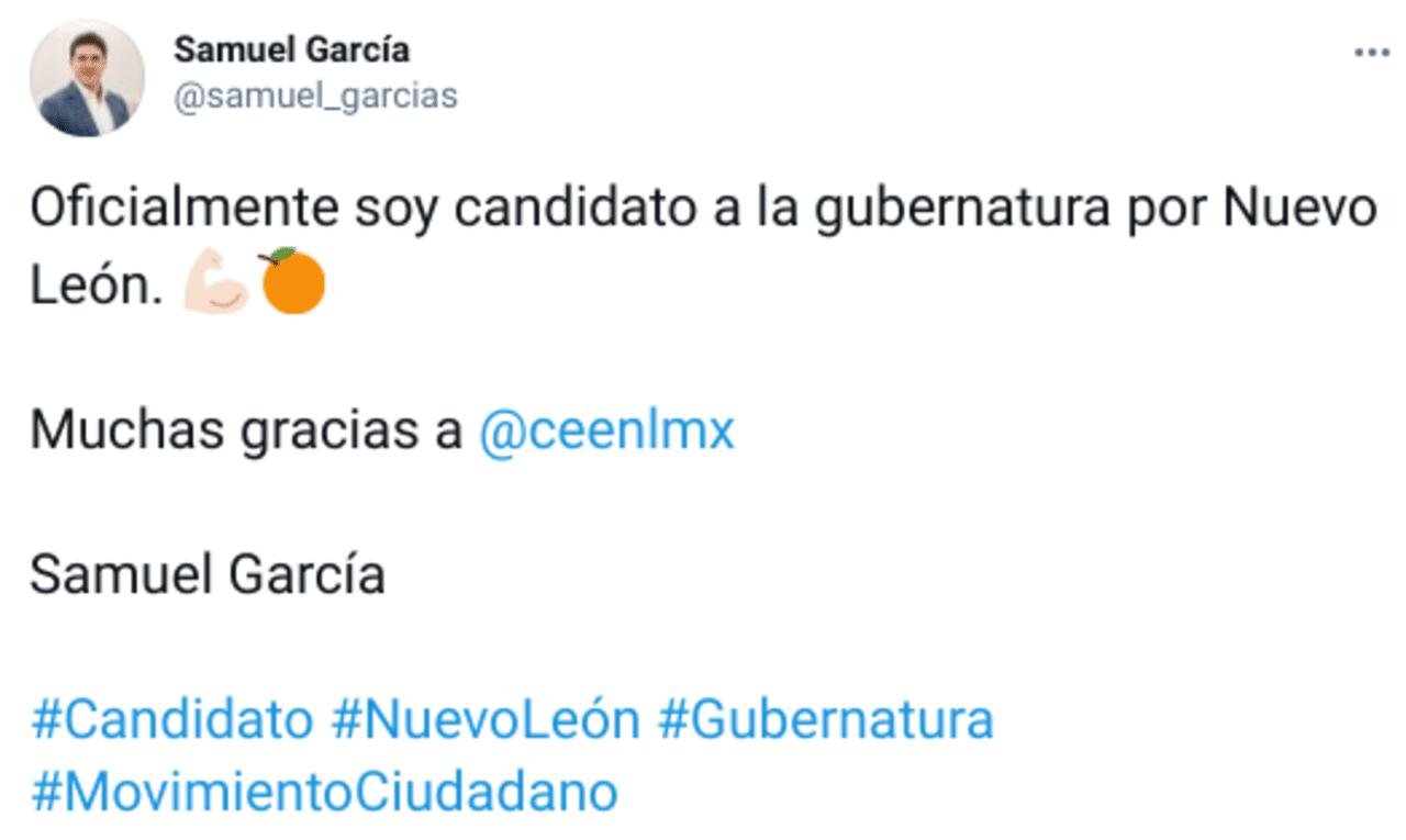 Ex senador Samuel García es oficialmente candidato a gobierno de Nuevo León