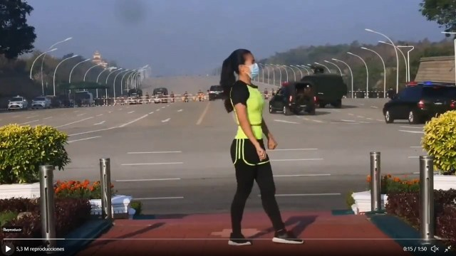 video toma Parlamento Myanmar transmitía rutina de ejercicios