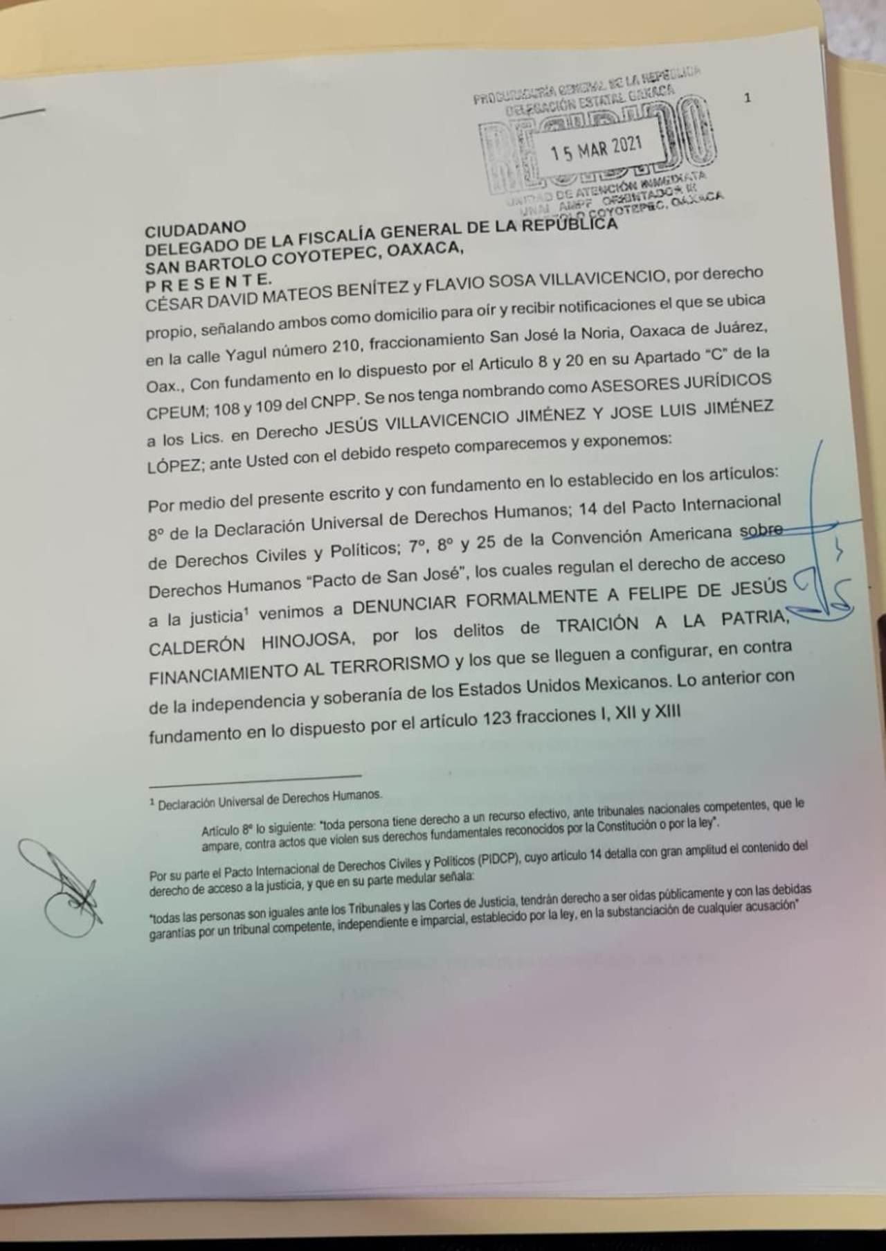 Denuncia Felipe Calderón traición a la patria FGR