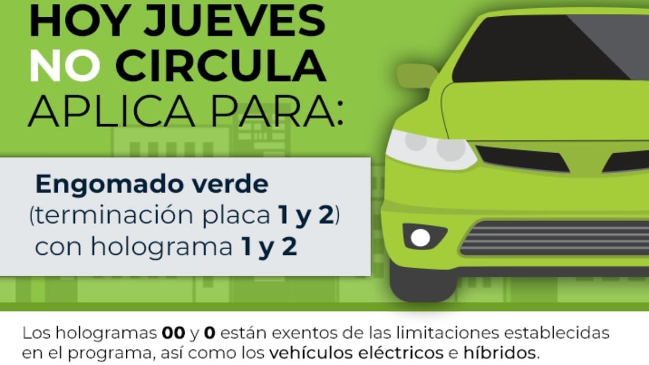 Hoy no Circula jueves 25 de marzo autos engomado verde