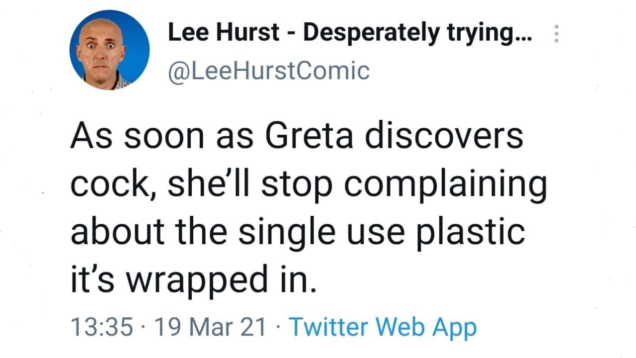 Greta Thunberg respondió a la broma de Lee Hurst