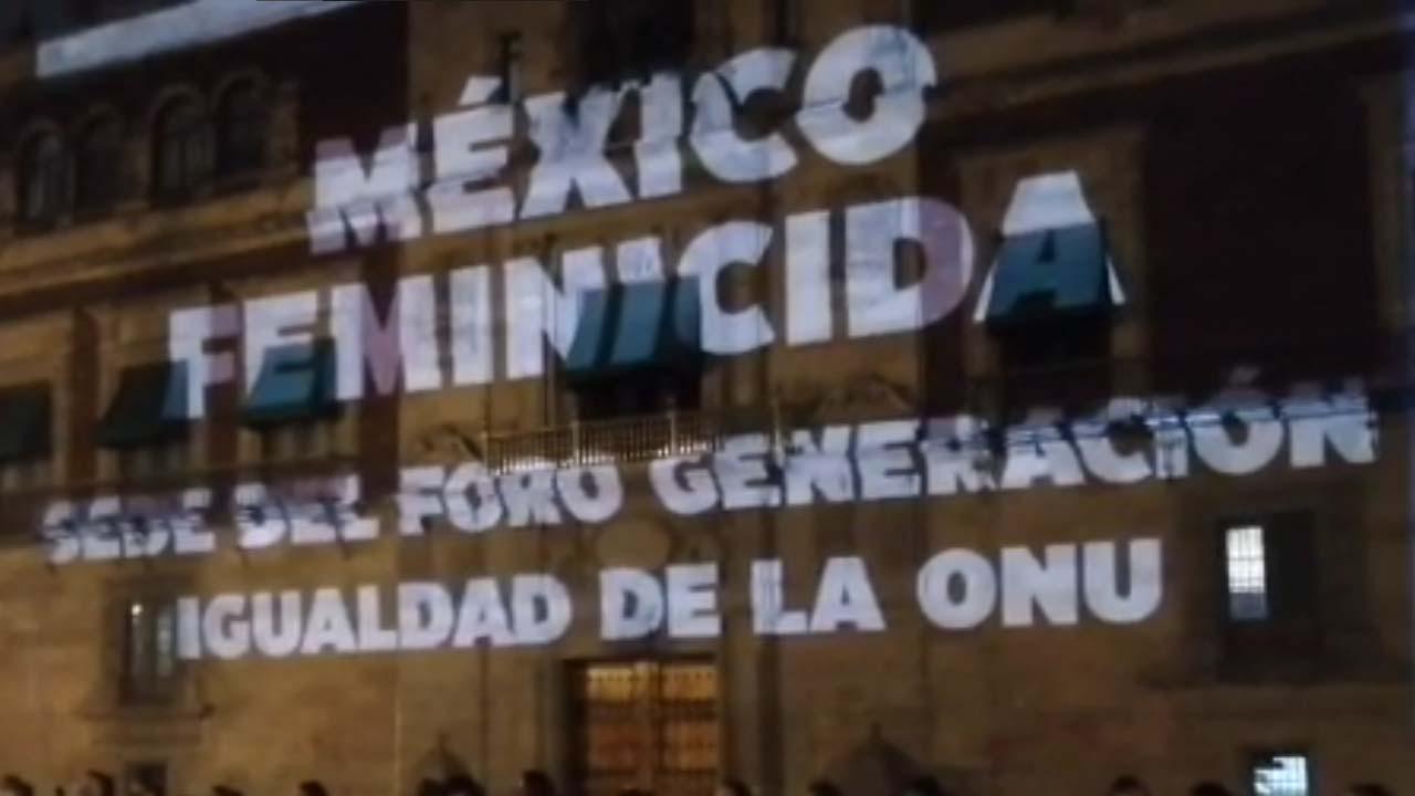 Mensajes protesta víctimas feminicidio Palacio Nacional
