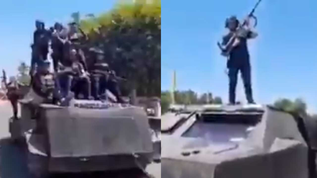 (VIDEO) Integrantes del CJNG presumen en las calles 'camión monstruo'