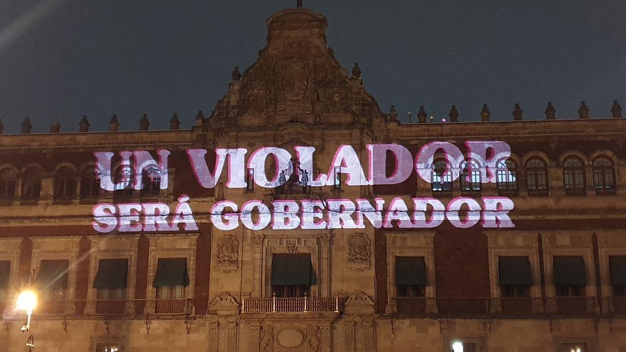 Feministas Proyectan Palacio Nacional Contra Félix Salgado
