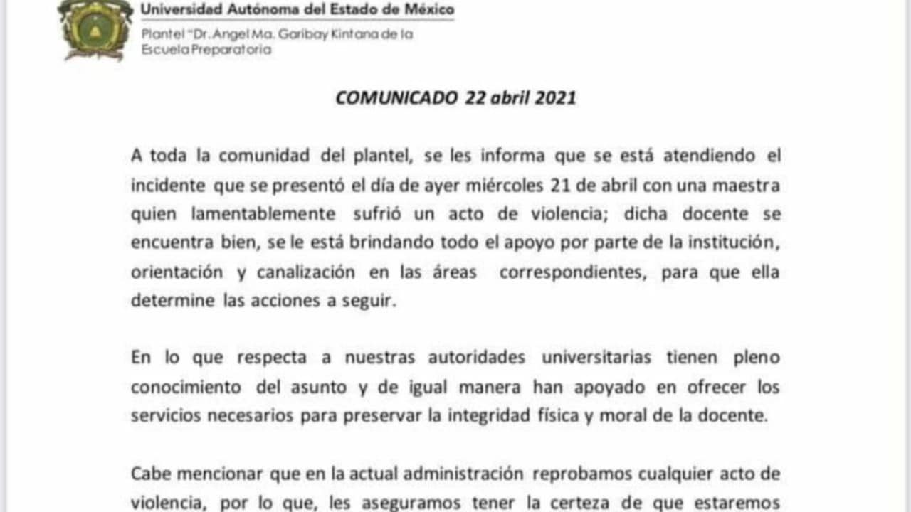 Maestra Prepa UAEM Violento Ataque Clase Virtual