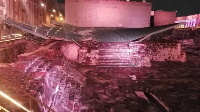 La granizada de la CDMX causó el colapso del techo sobre la Casa de las Águilas en el Templo Mayor en el Centro Histórico