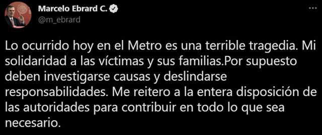 Marcelo Ebrard derrumbe Metro CDMX Linea 12