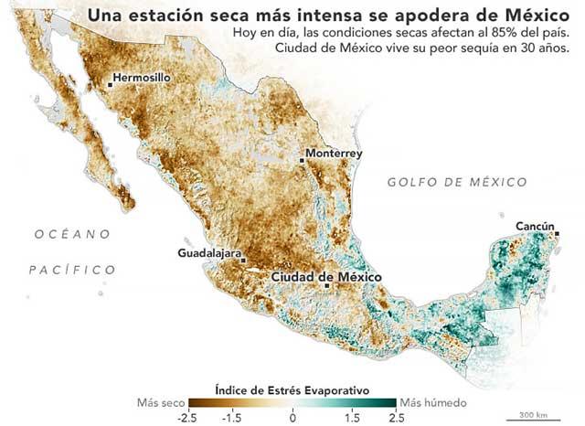 Imagenes NASA sequia en Mexico