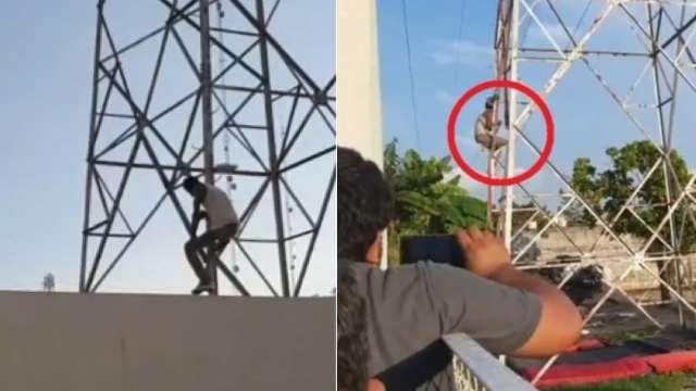 Asaltante subió torre CFE y bajó a cambio de tacos