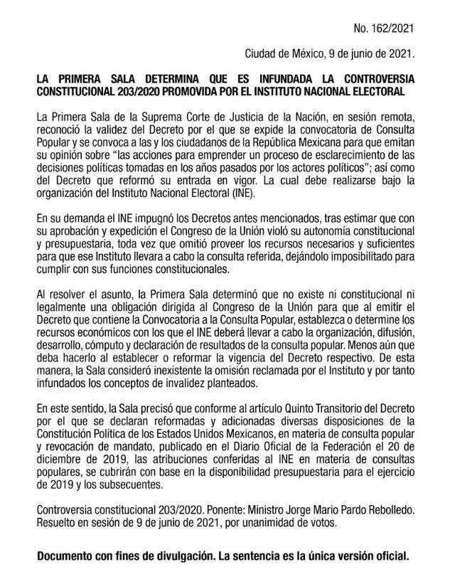 SCJN INE consulta popular expresidentes