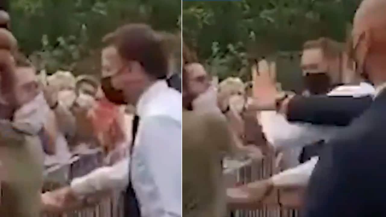 Abofetean Emmanuel Macron presidente Francia