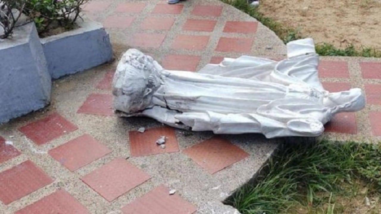 Muere aplastada estatua Sagrado Corazón