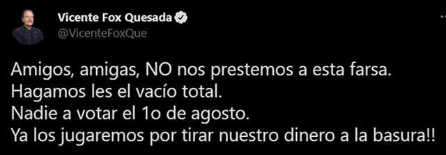 Vicente Fox contra consulta expresidentes