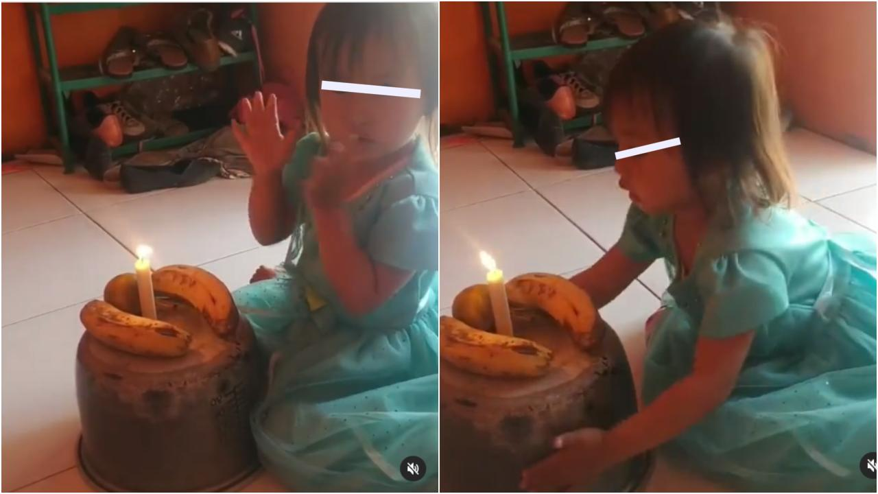 Familia simula pastel con platanos