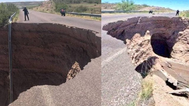 Localizan socavón en carretera de Chihuahua