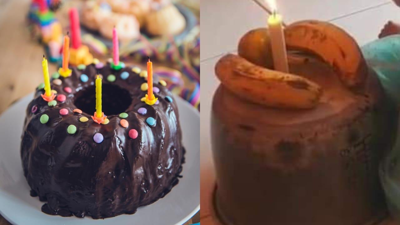 Mamá improvisa pastel de cumpleaños para su hija