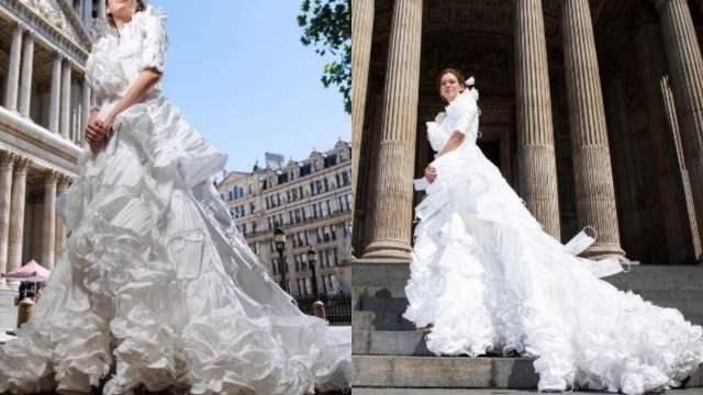 Diseñan vestido de novia hecho con cubrebocas