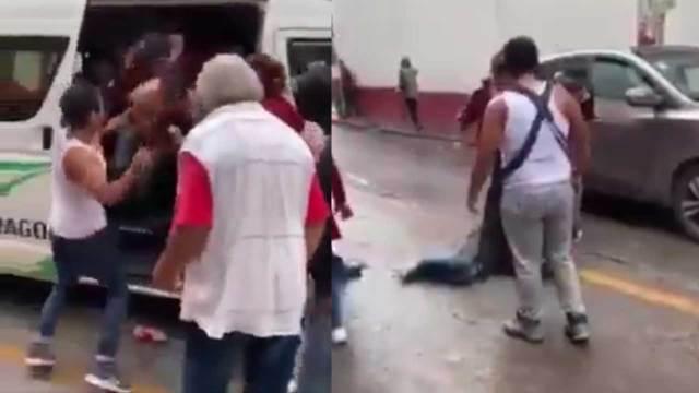 A patadas bajan a ladrón de una combi en el Estado de México