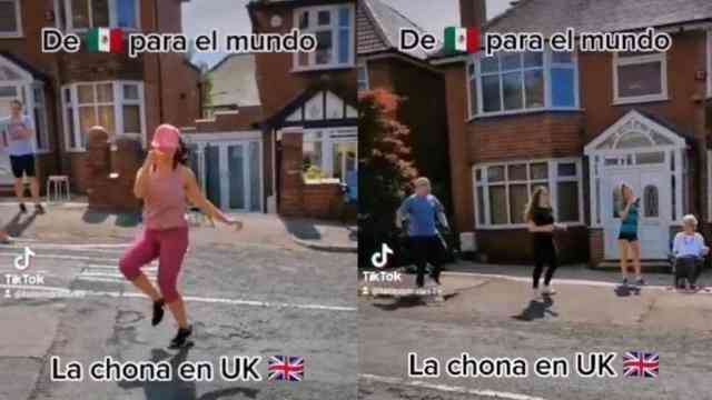 """Mexicana pone a sus vecinos a bailar """"La Chona"""" en Inglaterra; divertido video conquista TikTok"""