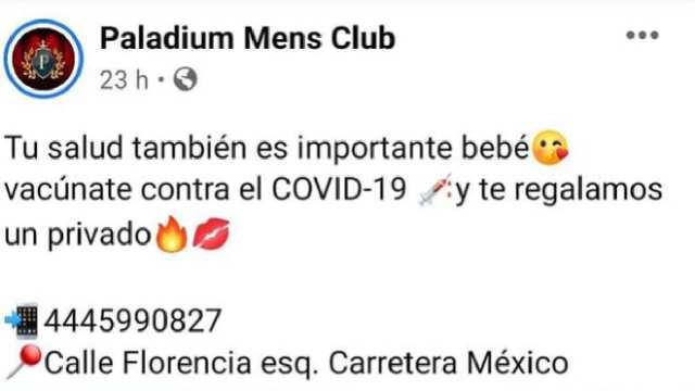 Club ofreció privado a clientes que se vacunarán contra Covid-19