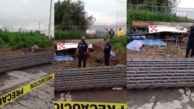 Grúa se desplomó en Ecatepec