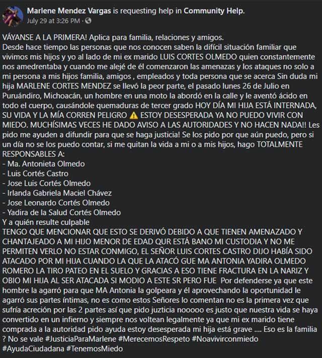 Ataque de ácido Michoacan