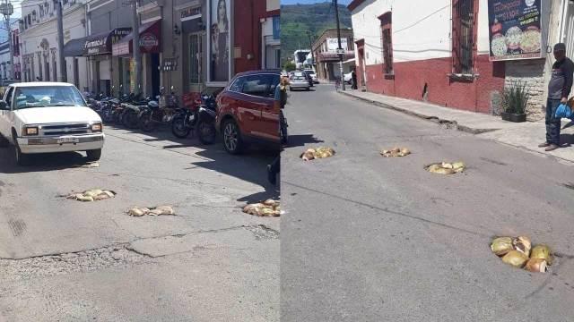 En Nayarit tapan con cocos los baches de las calles