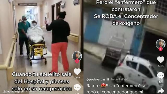 enfermero se roba tanque de oxigeno de su paciente con Covid-19