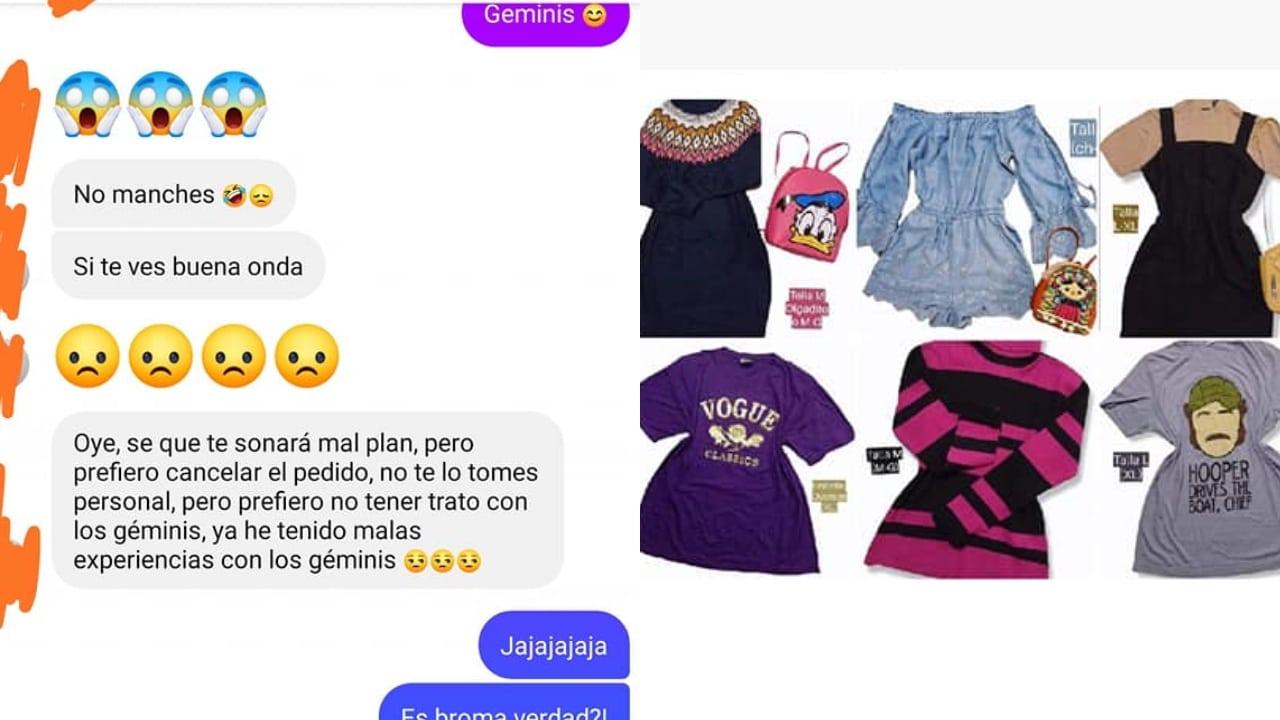 Le cancelan pedido de ropa por ser géminis