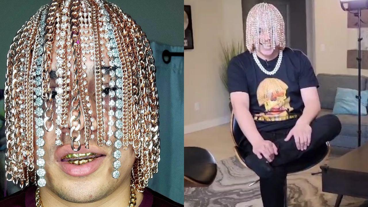 rapero se implanta cadenas de oro en la cabeza