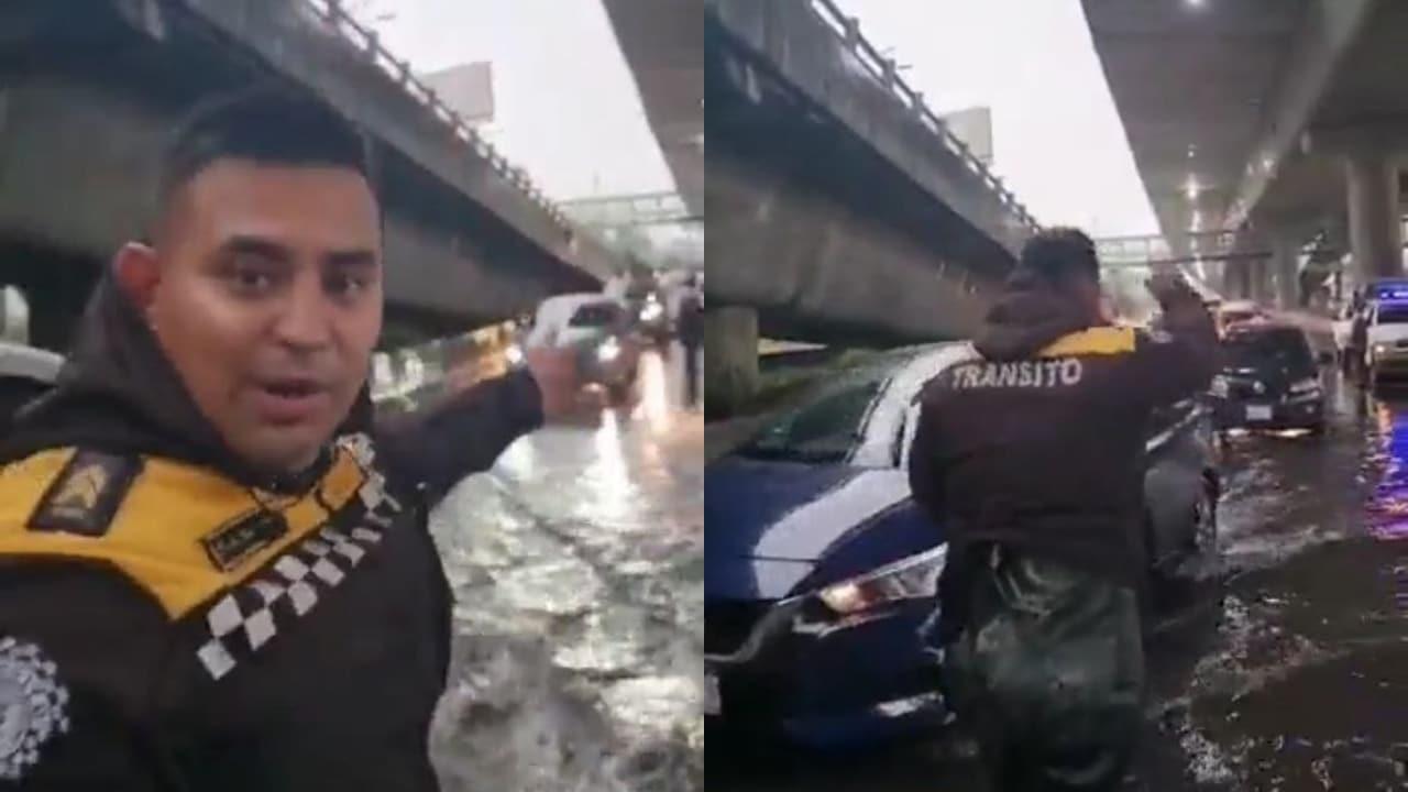 policía de tránsito ayuda a conductores en tramo inundado