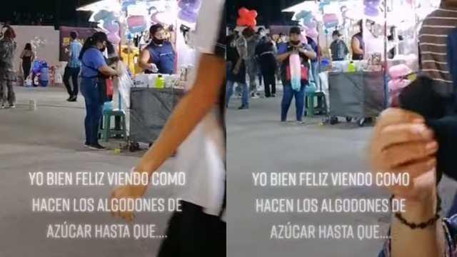 Captan a vendedora mientras infla bolsa de algodón de azúcar con la boca en Torreón