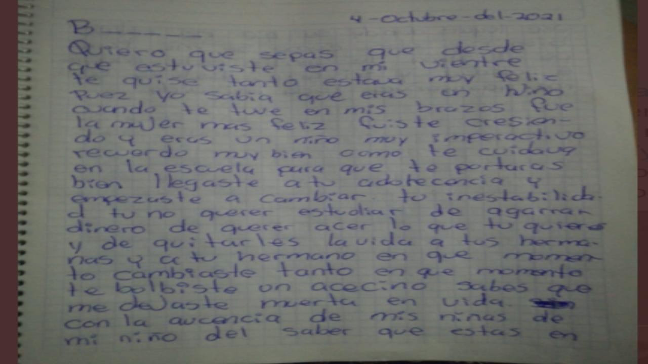 Tras el asesinato de sus hijas, madre escribe carta a su hijo feminicida