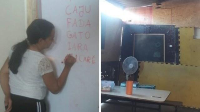 Mujer construye un salón de clases en su casa para niños de su comunidad