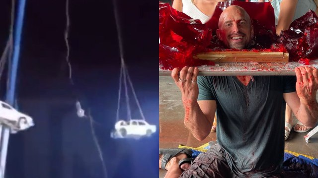 Truco fallido: Ilusionista es aplastado por dos vehículos envueltos en fuego