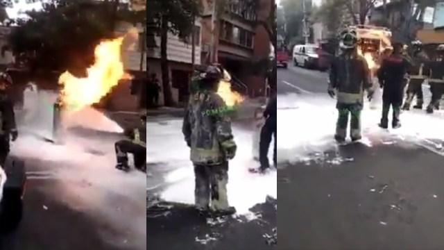 Bombero CDMX cargó tanque de gas en llamas