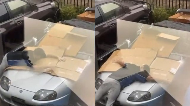 Video: Sin miedo a enfermar, joven cubre su auto con su cuerpo durante granizada