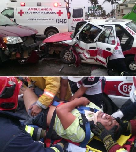 Así quedó el taxi y los heridos tras el accidente que provocó la exconductora de espectáculos de Telever Norma Reyna Camacho, que huyó del lugar/ foto tomada de Google