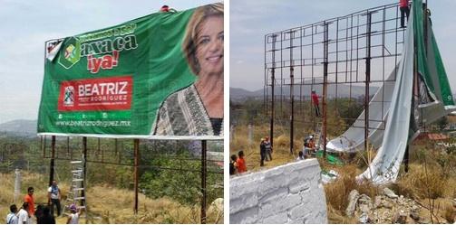 Mas tarde los profesores retiraron espectaculares de candidatos del PRI en Oaxaca/Foto: El Piñero