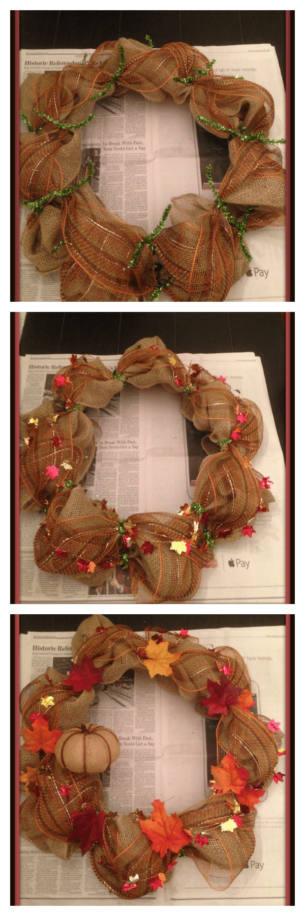 Diy fall deco mesh wreath tutorial just plum crazy the fall deco mesh wreath i used burlap and a brown mesh to give it some baditri Images
